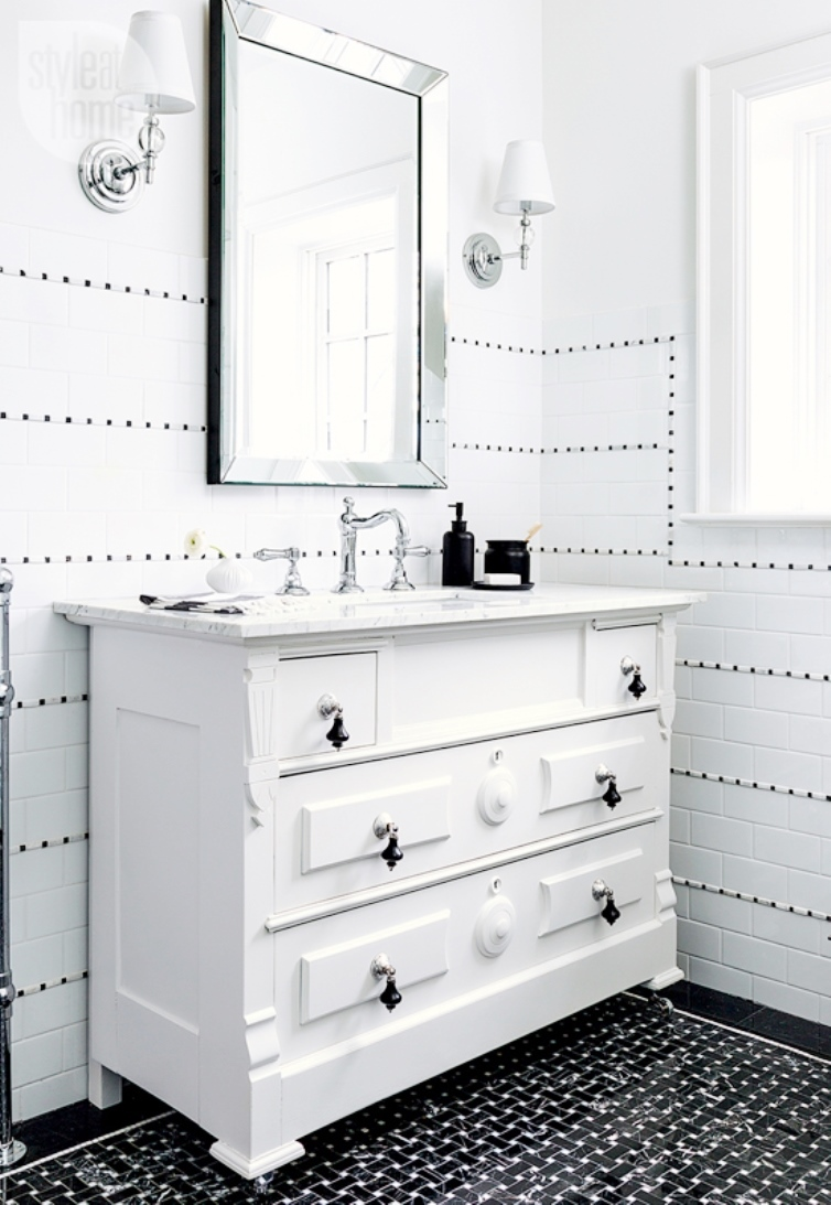 White On Black Bathroom White Vanity Black Basketweave