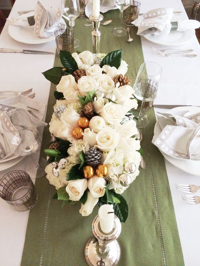 Holiday Table Decor Floral Centerpiece