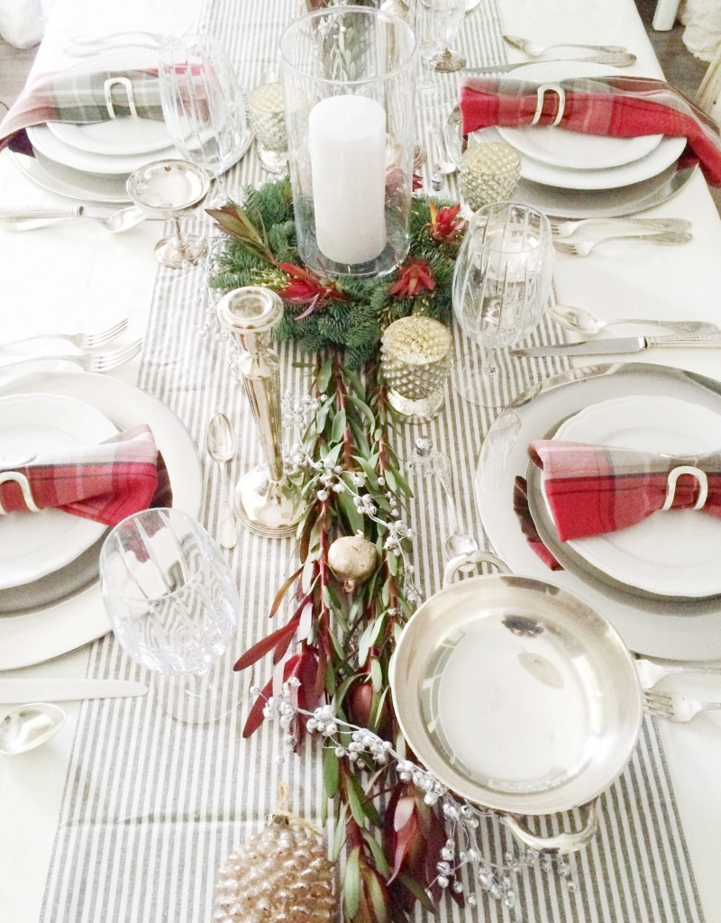 Christmas Tabletop Garland Striped Table Runner