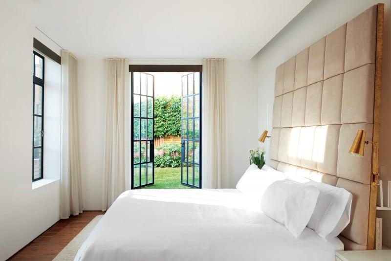 Master bedroom tufted custom headboard