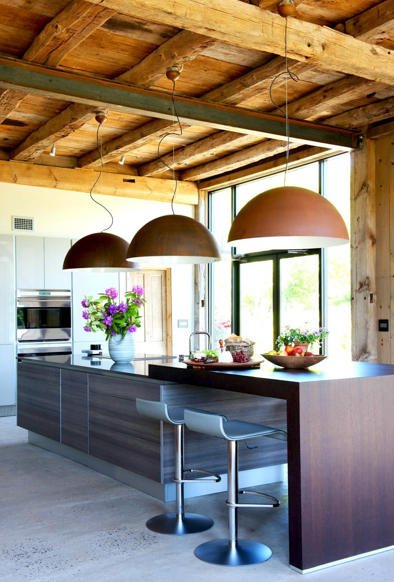modern kitchen island rustic barn dome pendant lights