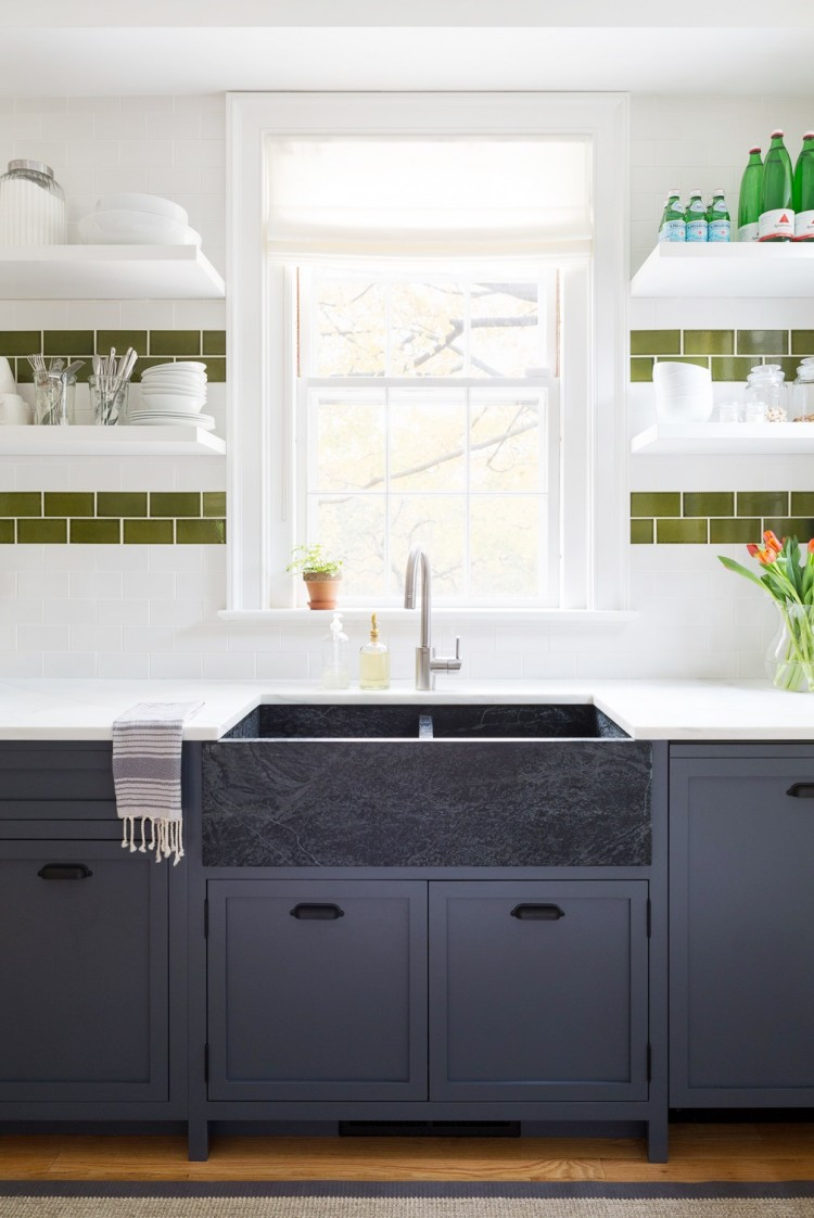 Cutest Kitchen Remodel - Navy blue cabinets soapstone sink