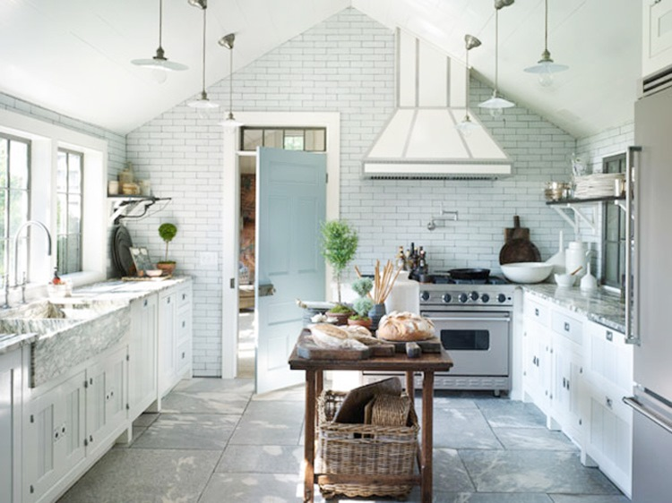 Bright Country Kitchen Subway Tile Wall