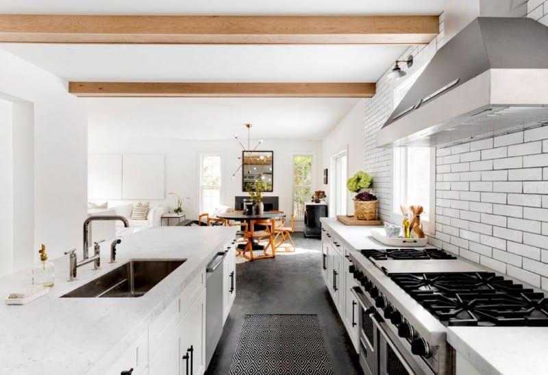 Bright Modern Rooms Open Kitchen Subway Tiles