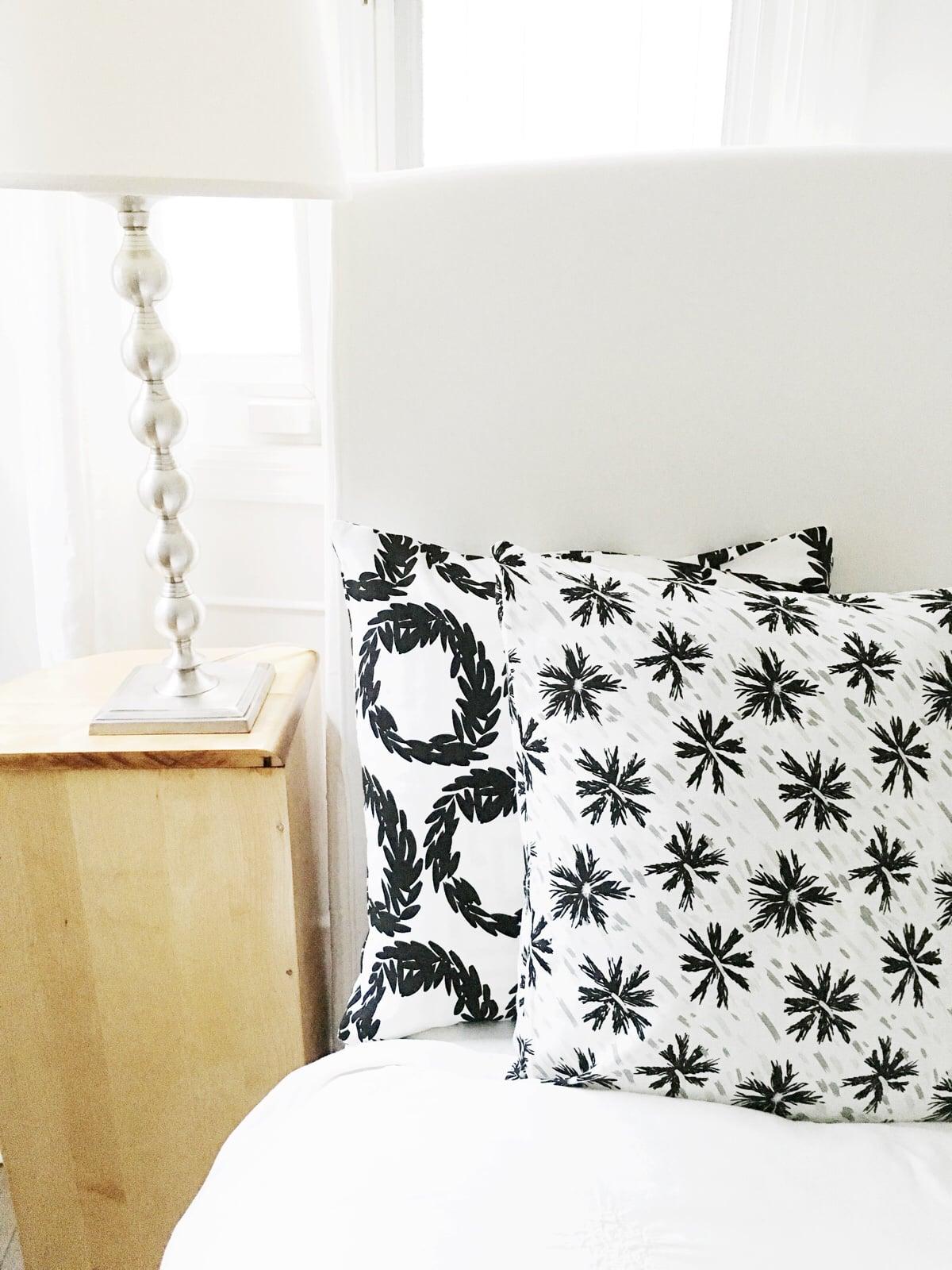 Black white pillows bedding