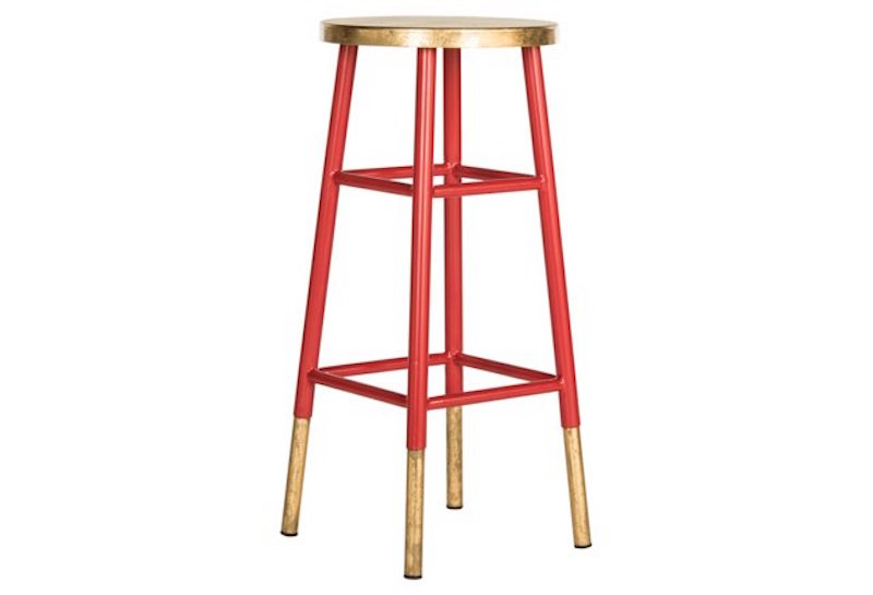 Red Gold Metal Barstool