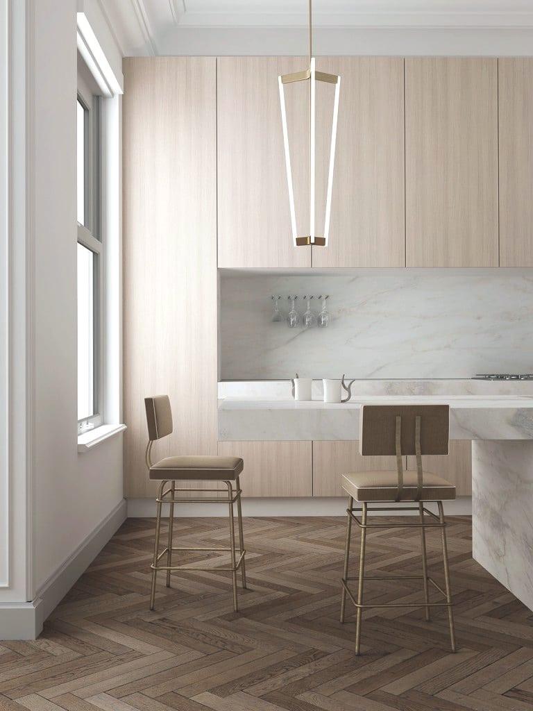 herringbone wood floors modern kitchen