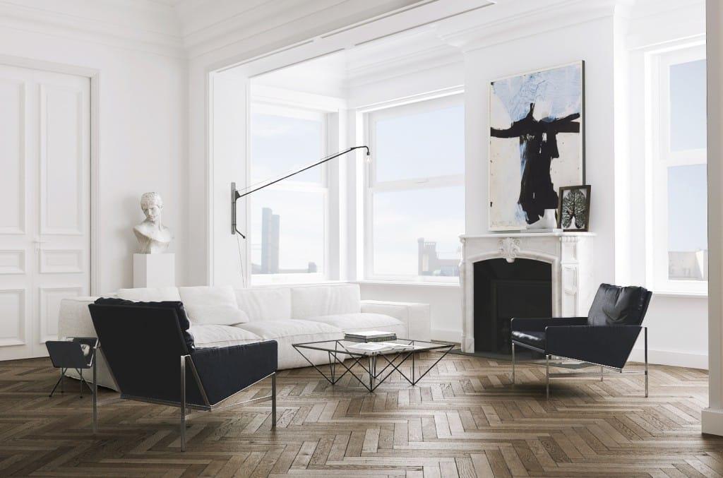 Herringbone wood floors apartment living room