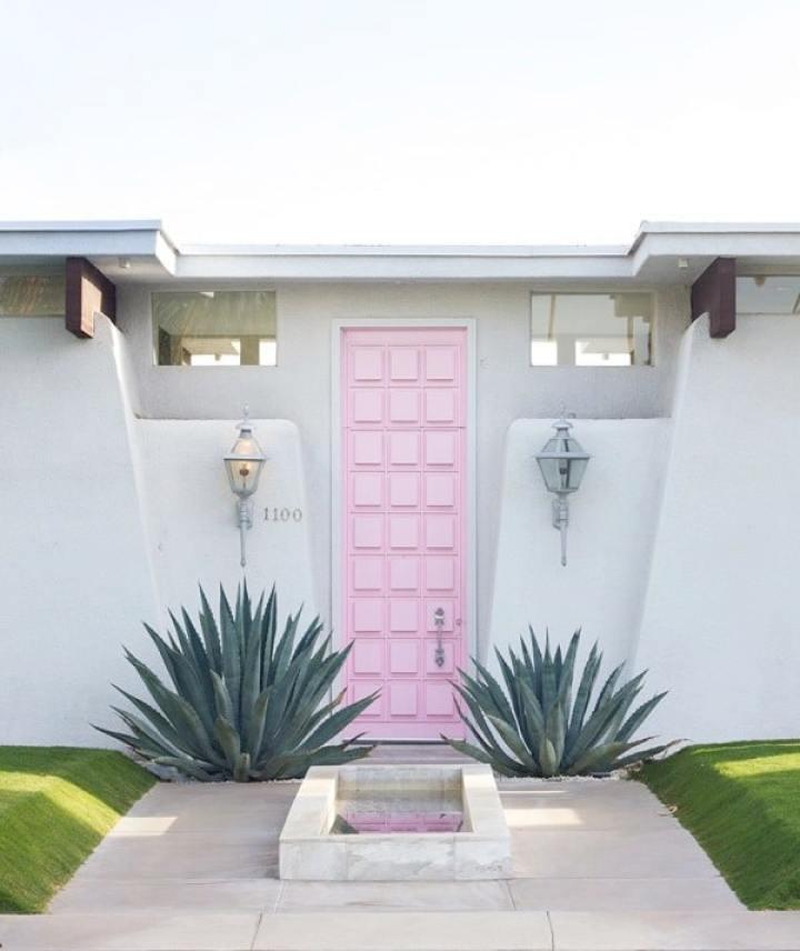 Pretty Pastel Pink Door Palm Springs