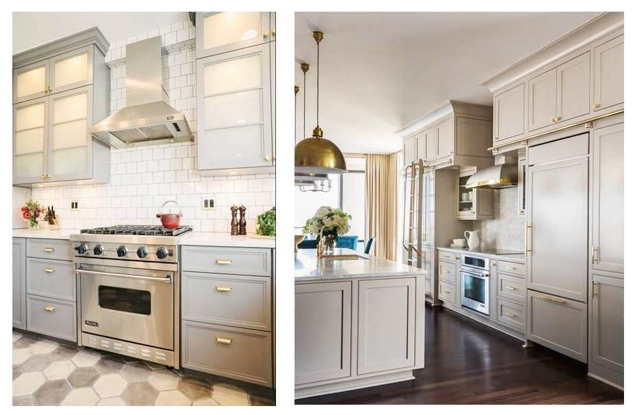 Grey kitchen cabinets brass accents this or that cococozy - Creative ways upgrade grey kitchen cabinets beautifully ...