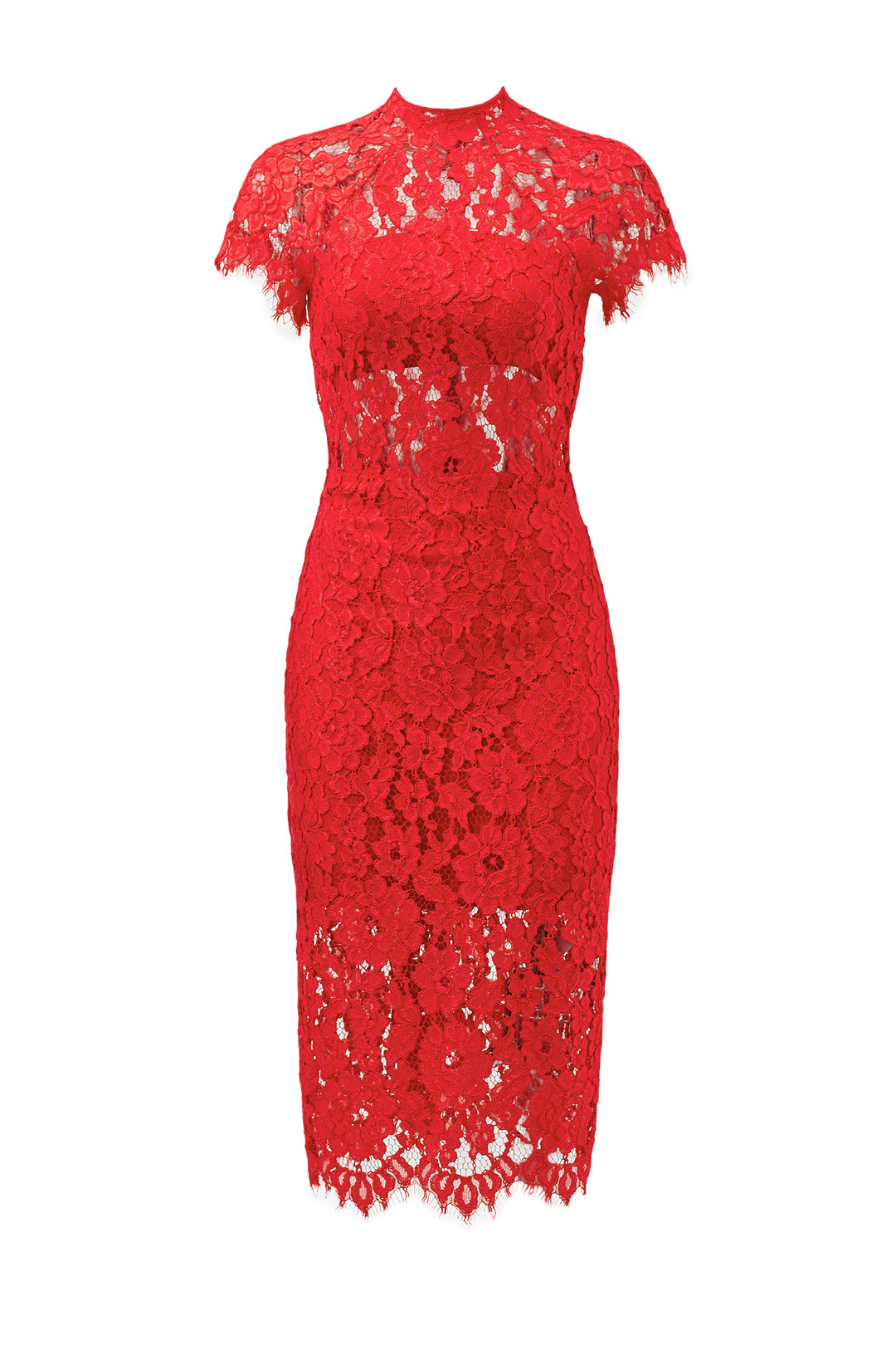 Red Lace and Perfect for any body type, this dress from Rent The Runway just needs the right pair of shoes!