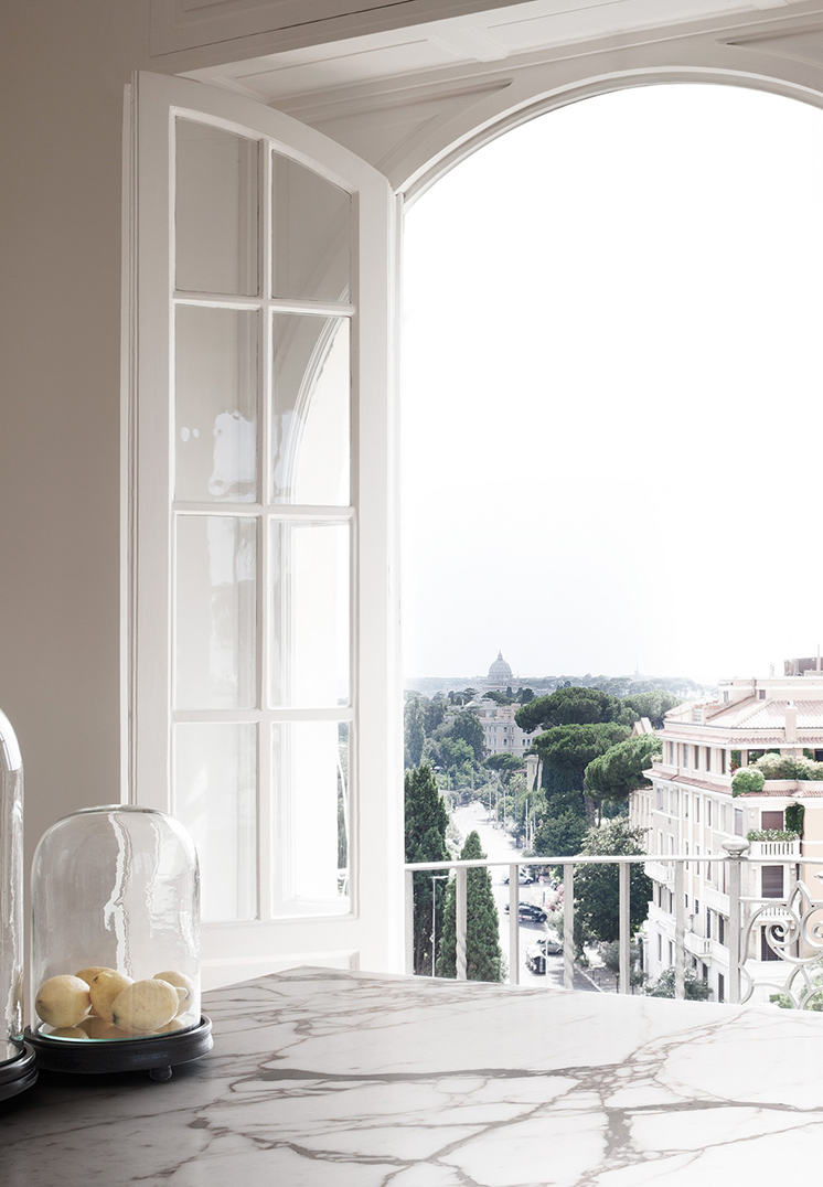 modern rome apartment arched window