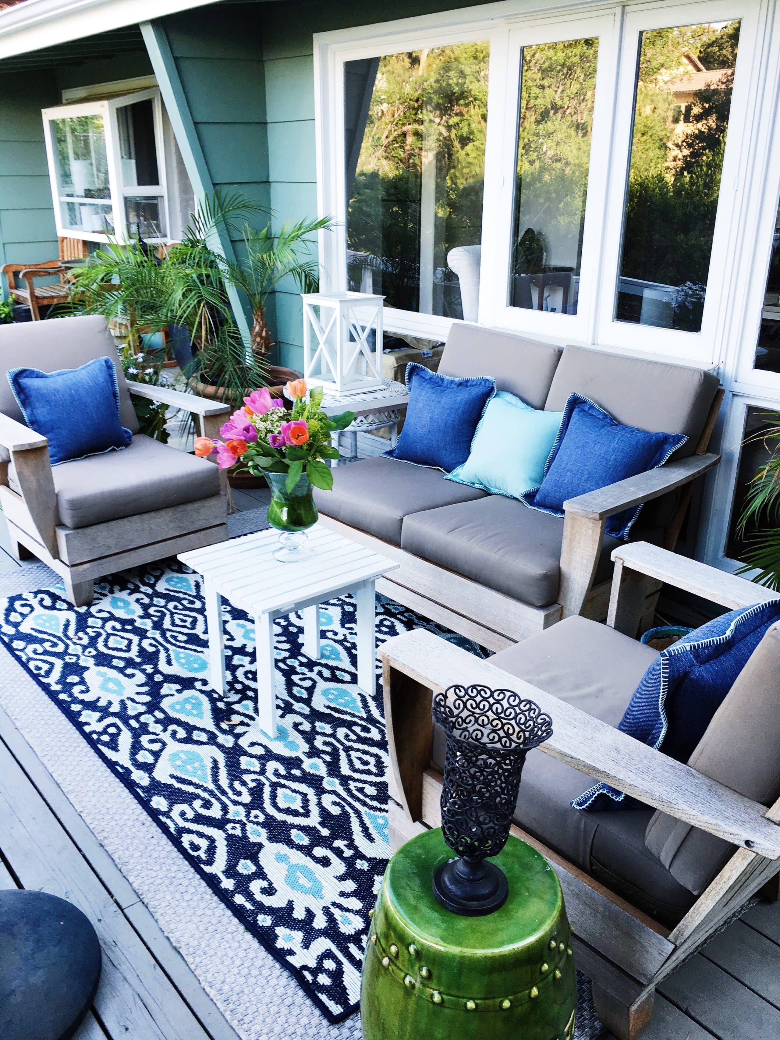 Deck makeover April 2016 blue ikat outdoor rug