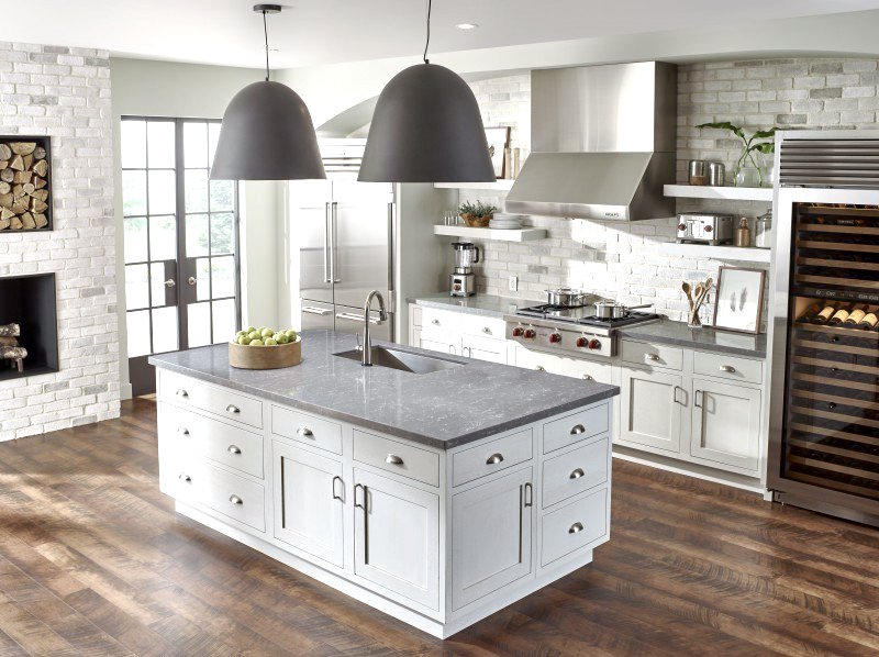 Corian Colors Grey Counters White Kitchen
