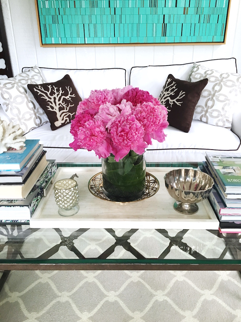 living room decor pink peonies coffee table