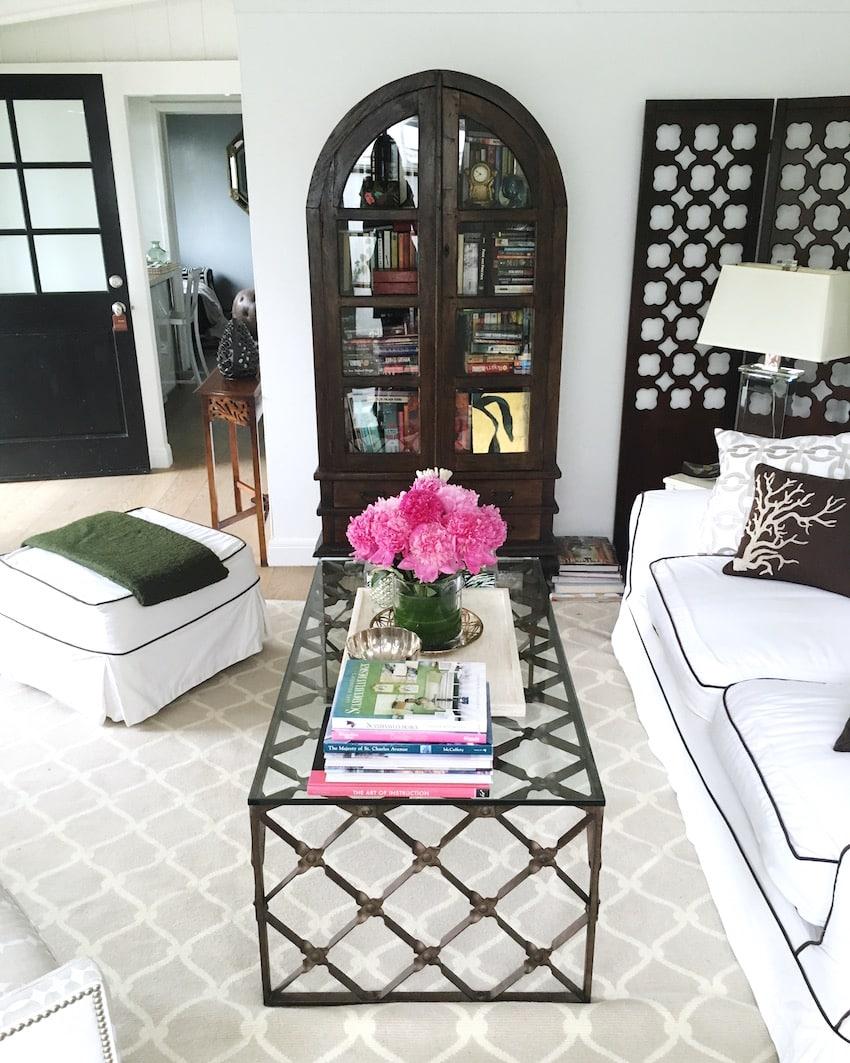 living room decor pink peonies metal glass coffee table
