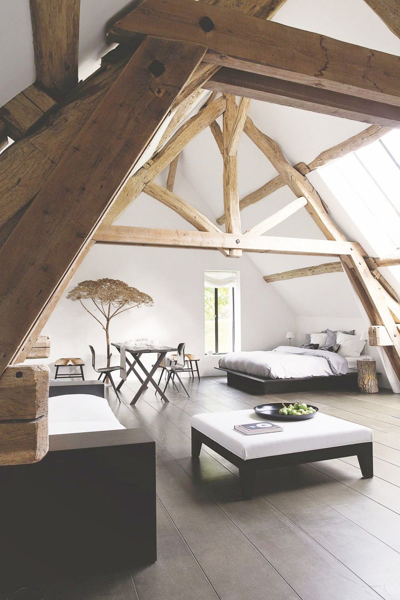 a frame exposed beam bedrooms