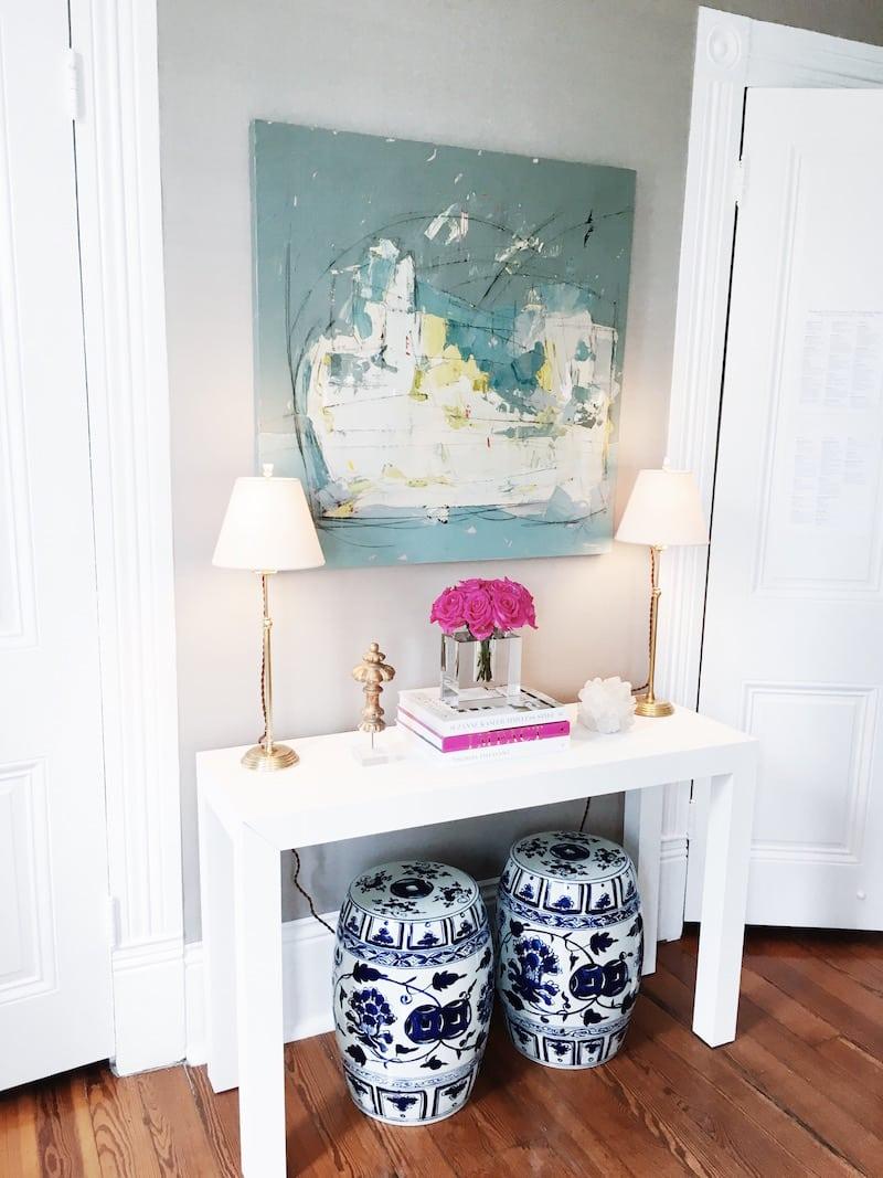 Bright White Bold Color Bedroom Desk
