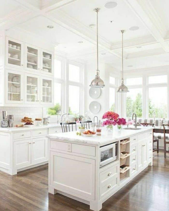 Bright White Kitchens Glass Cabinets