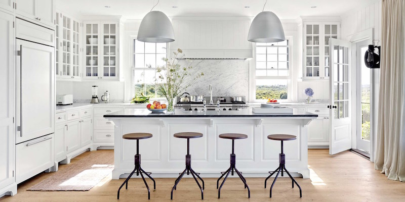 Bright White Kitchens Wooden Barstools