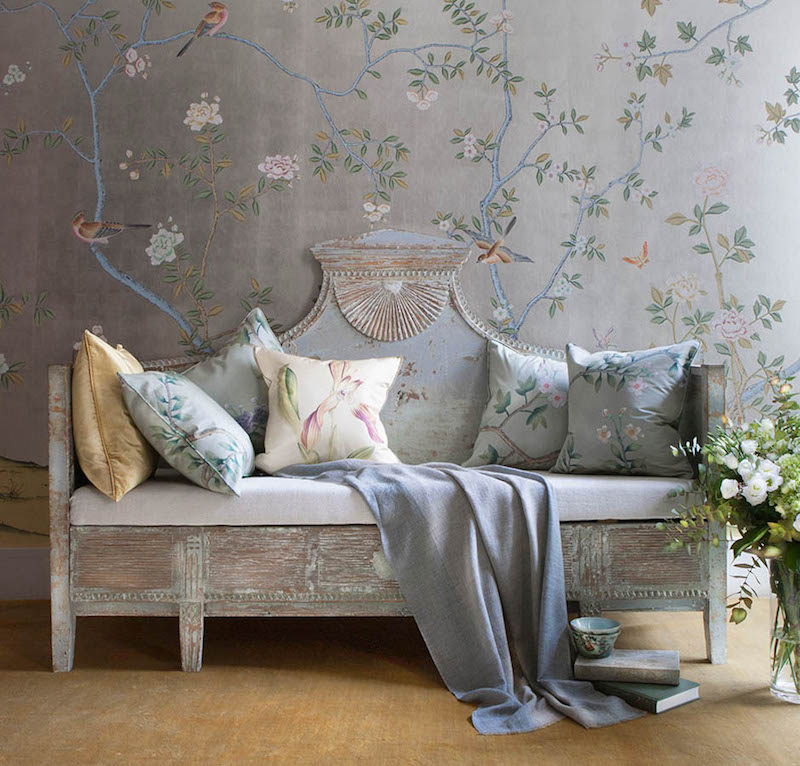 De Gournay Chinoiserie Badminton Silk Wallpaper