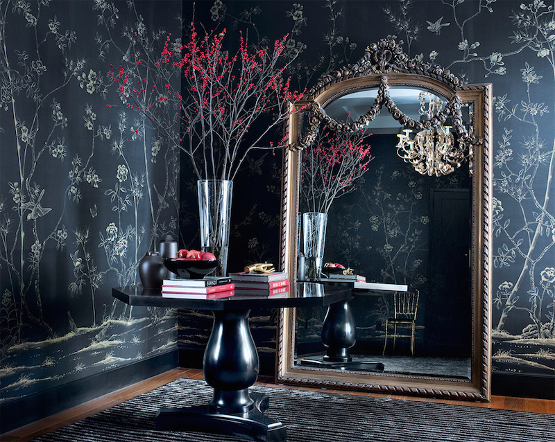 De Gournay Chinoiserie Portobello Wallpaper Oversized Mirror Entry Way