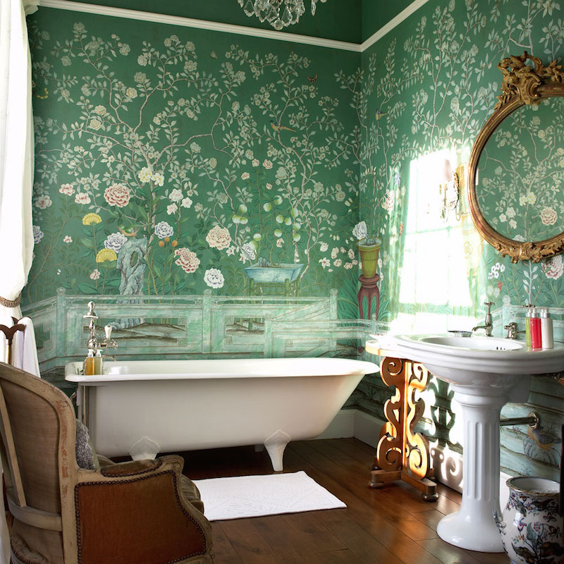 De Gournay Chinoiserie Temple Newsam Deep Green Wallpaper Footed Bathtub