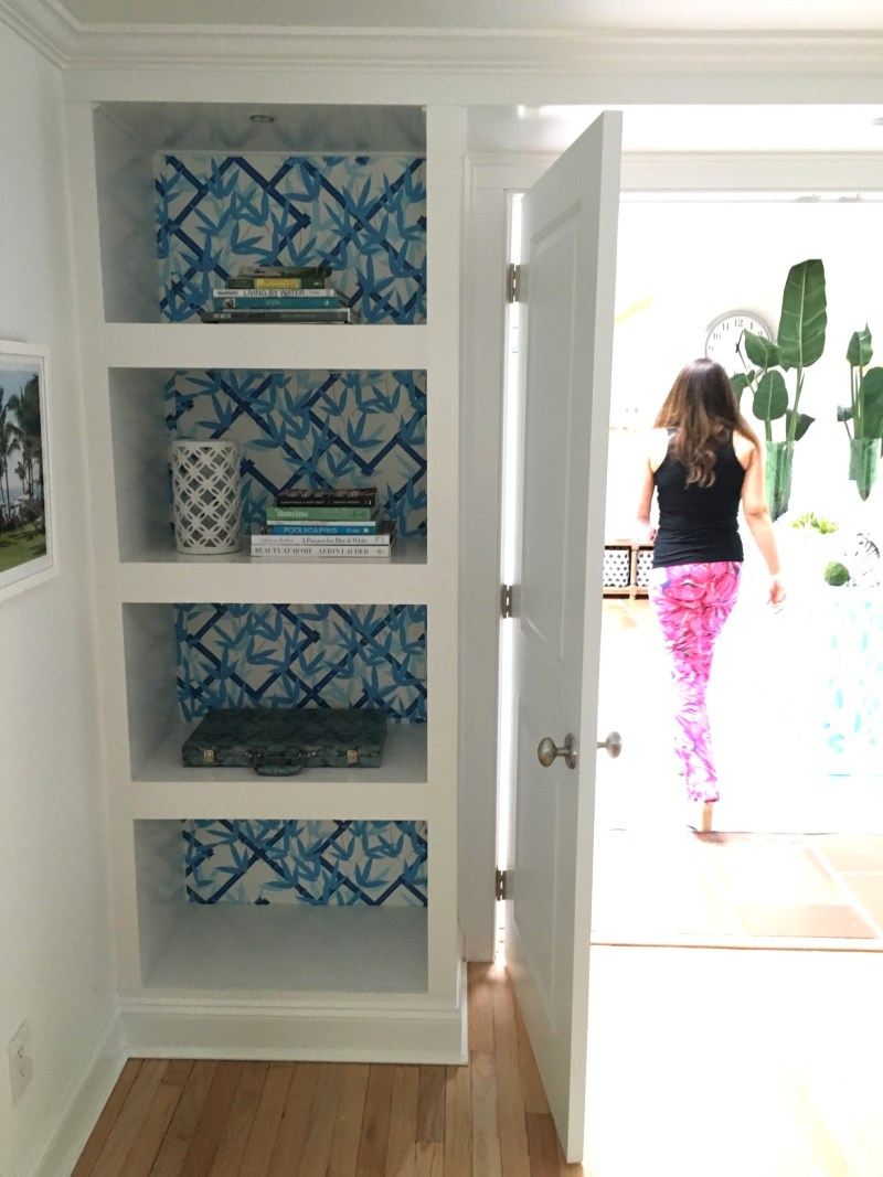 East Hampton Weekend blue wallpaper book shelf