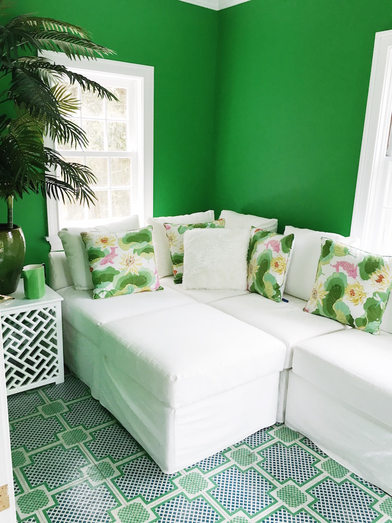 White Couch Green Walls Mirth Studios Painted Wood Tile Floors