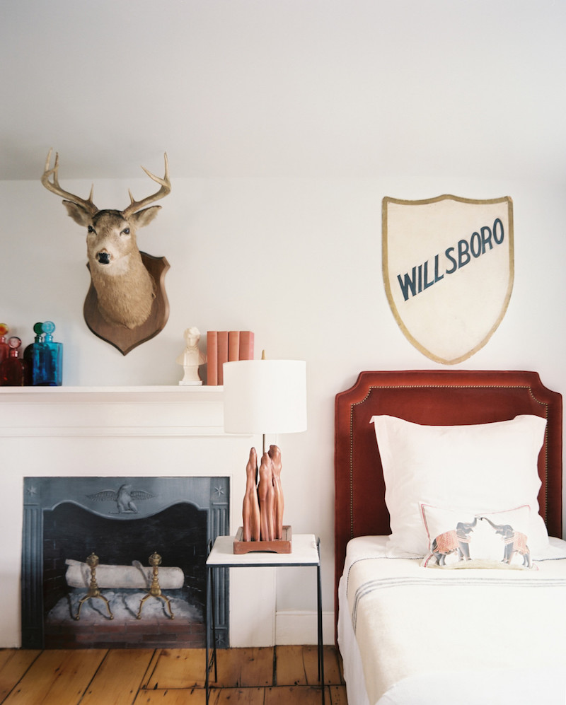Bedroom Moose Head Fireplace Mantle SAG Harbor Cottage