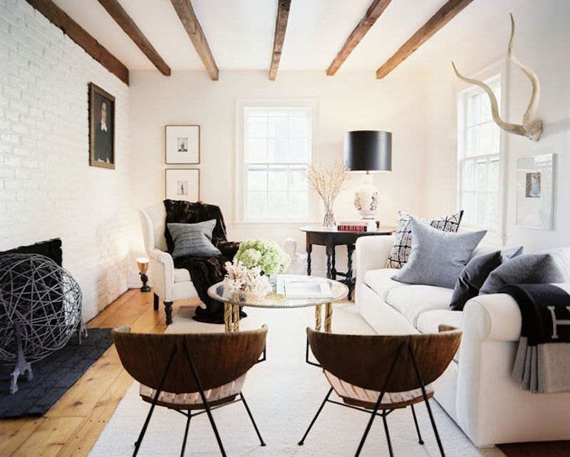 White Living Room Wooden details SAG Harbor Cottage