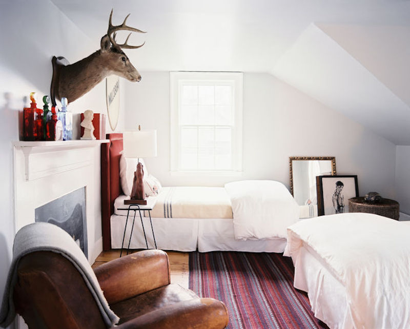 Bedroom Side View White Walls Moose Head SAG Harbor Cottage