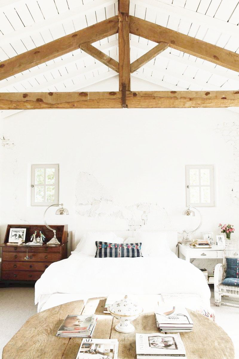 A Frame Ceilings Exposed Beam Bedrooms Bright White Bedding