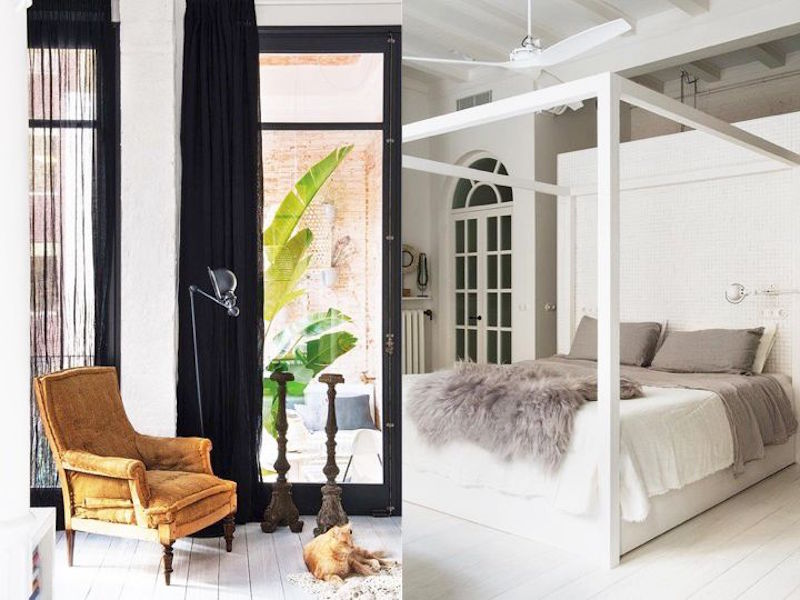 bright barcelona apartment tour mustard yellow chair bright white bedroom