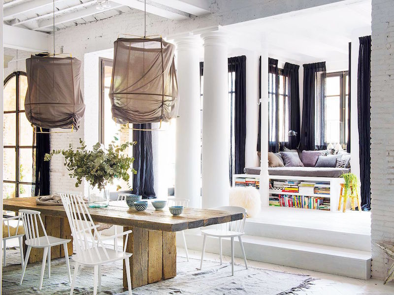 bright barcelona apartment tour reading nook farm table cotton rug
