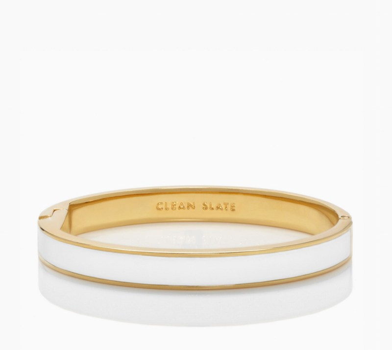 Kate Spade White Clean Slate Idiom Enamel Bracelet