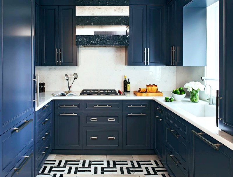 Navy Blue Galley Kitchen Black White Marble Floor