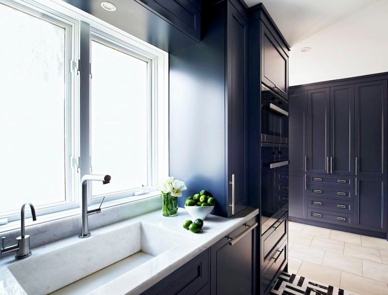 Navy blue galley kitchens integrated stone sink