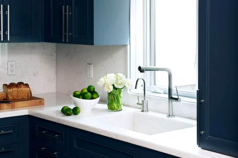 Navy blue galley kitchens stone sink