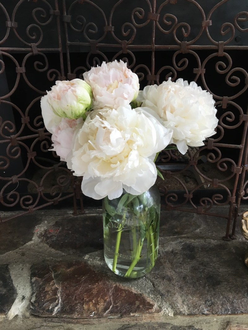 White Peonies Mason Jar Vase