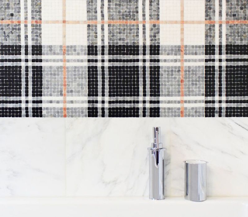 Balmoral plaid mosaic bathroom tile akdo