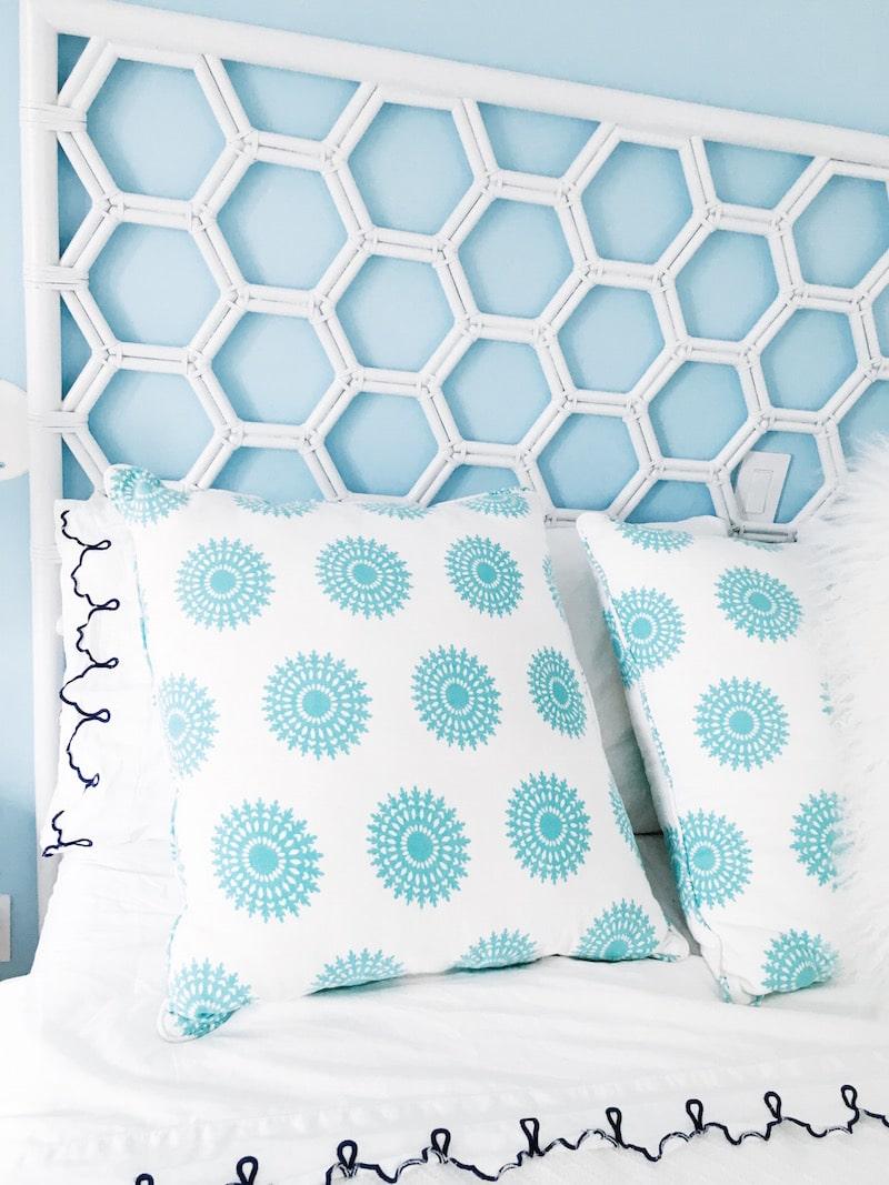 East Hampton Master Bedroom Honeycomb Headboard COCOCOZY Pillows