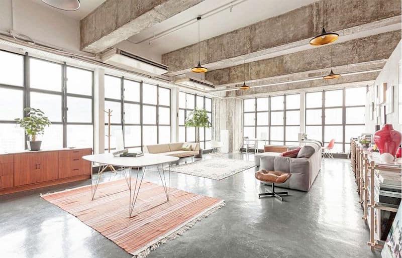 lovely loft large windows coral linen rug large windows
