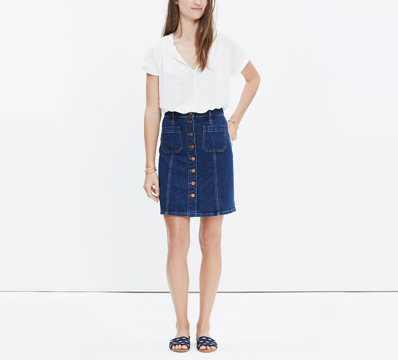 Madewell denim skirt button front white shirt flat slip on sandals