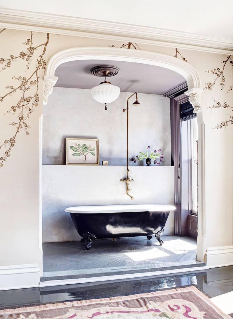 Roman Williams Brooklyn Townhouse Remodel Master Bathroom Black Footed Tub