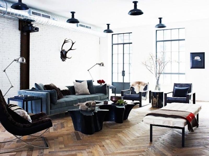 Lovely New York Loft black white combo herringbone floors