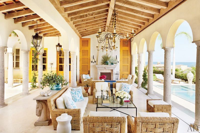 exposed beam living rooms wicker furniture beach front