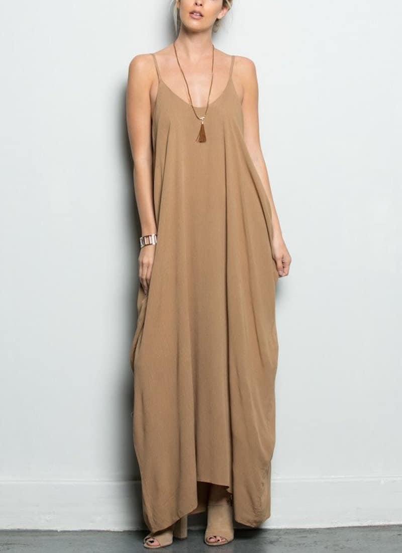 camel colored maxi dress tassel necklace open toe nude heels