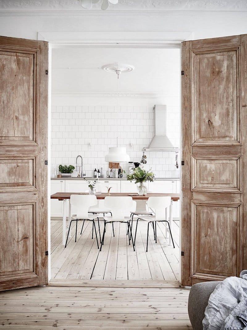 Scandinavian flat Kitchen view bright white kitchens