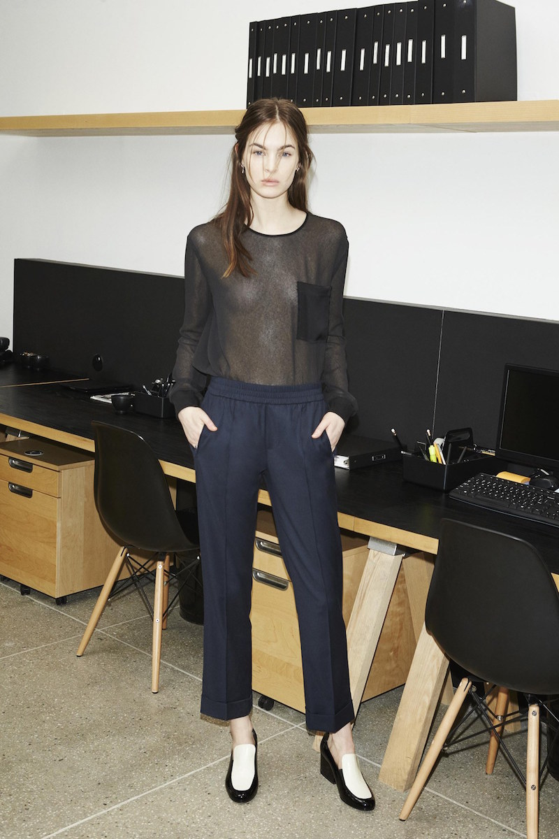 ATM Sheer Black Blouse Navy Trousers Fall Fashion Looks